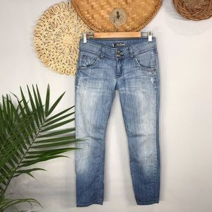 Hudson|Double Button Distressed Straight Leg Jean